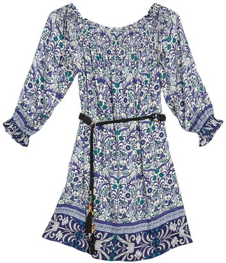 Hale Bob Patterned Off-the-Shoulder Belted Dress
