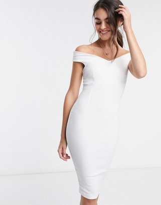Vesper bardot pencil midi dress in white