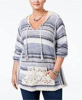 American Rag Trendy Plus Size Southwestern Hoodie Sweater, Only at Macy's