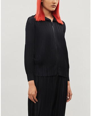 Pleats Please Issey Miyake Open-front pleated crepe coat