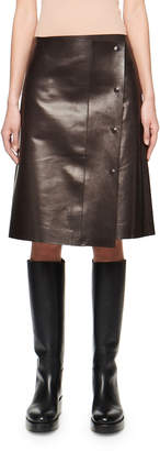 The Row Narai Leather Snap-Front Skirt