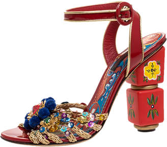 Dolce & Gabbana Red Patent Leather And Raffia Pom Pom And Sequin Embellished Ankle Strap Sandals Size 36