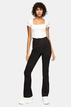 Topshop Womens Black Stretch Split Flare Trousers - Black