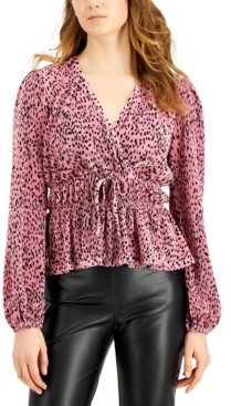 Love, Fire Juniors' Printed Pleated Balloon-Sleeved Top