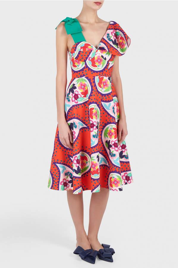 DELPOZO Printed V-Neck Dress