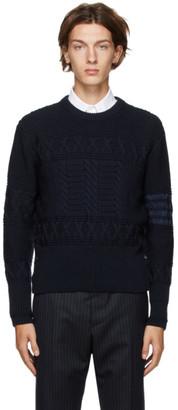 Thom Browne Navy Wool Aran Cable 4-Bar Sweater