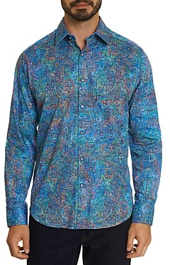 Robert Graham Gustave Cotton Stretch Embroidered Gingham Paisley Print Classic Fit Button Down Shirt