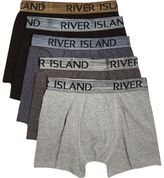 River Island Black And Metallic Grey Hipster Multipack