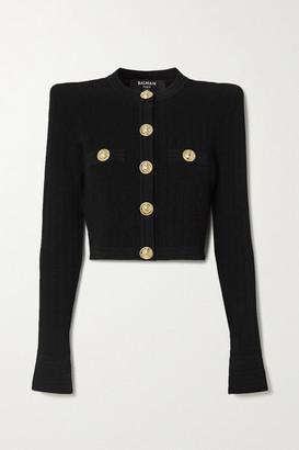 Balmain Cropped Button-embellished Jacquard-knit Blazer - Black