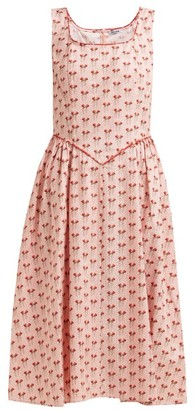 Batsheva Corset Rose-print Cotton Dress - Womens - Pink Multi