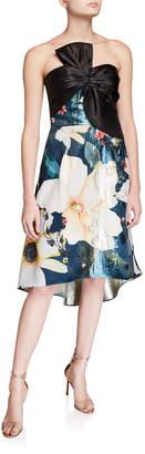 Marchesa Strapless Printed Metallic Jacquard High-Low Cocktail Dress