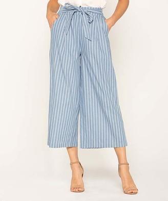 Miss Me Women's Casual Pants MULTI - Blue Stripe Tie-Waist Gaucho Pants - Women