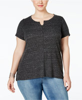 Style&Co. Style & Co Plus Size Split-Neck T-Shirt, Only at Macy's