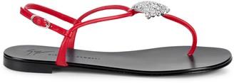 Giuseppe Zanotti Embellished Leather Slingback Thong Sandals