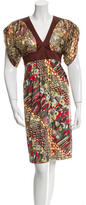 Just Cavalli Metallic Accented V-Neck Dress