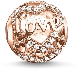 Thomas Sabo Women-Bead Heart of Love Karma Beads 925 Sterling Silver 18k rose gold plating Zirconia white K0176-416-14