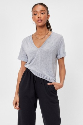 Nasty Gal Womens Plunging Scoop Neckline T-Shirt - Grey