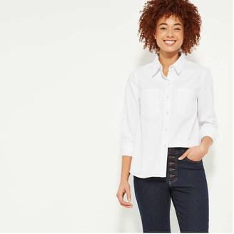 Joe Fresh Women's Patch Pocket Denim Shirt, White (Size S)
