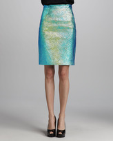 Milly Iridescent Leather Pencil Skirt