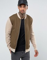 Asos Jersey Bomber Jacket With Contrast Sleeves