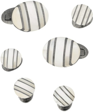 Jan Leslie Classic With A Twist Sterling Silver Mother Of Pearl Oval Stripe Cufflinks Tuxedo Stud Set