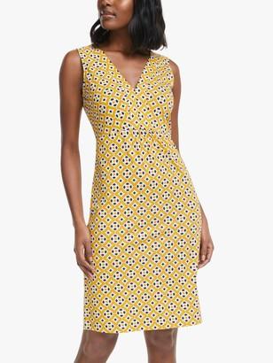 Boden Eden Jersey Sleeveless V-Neck Abstract Print Mini Dress, Tuscan Sun/Diamond