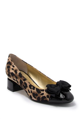 J. Renee Kintyre Leopard Print Bow Block Heel - Wide Width Available