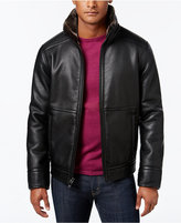 Calvin Klein Men's Pebble Faux-Leather Jacket with Faux Fur Lining