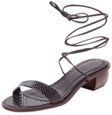 Tibi Astrid Embossed Leather Ankle-Wrap Sandal