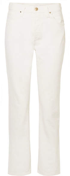 Gold Sign The Low Slung Cropped Mid-rise Straight-leg Jeans - Cream