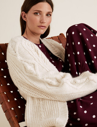 Marks and Spencer Cable Knit Relaxed Longline Cardigan