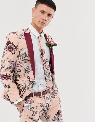 Twisted Tailor super skinny suit jacket in dusky pink floral