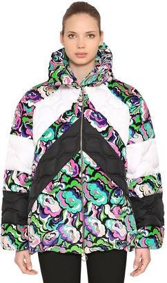 Emilio Pucci Floral Print Nylon & Velvet Down Jacket