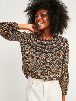 Old Navy Oversized Printed Ladder-Lace Yoke Blouse for Women
