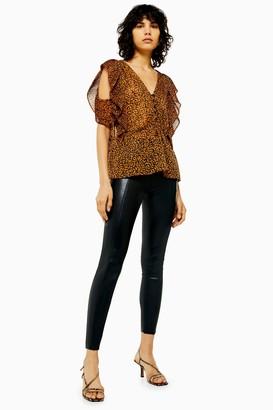 Topshop Black Faux Leather Skinny Pants