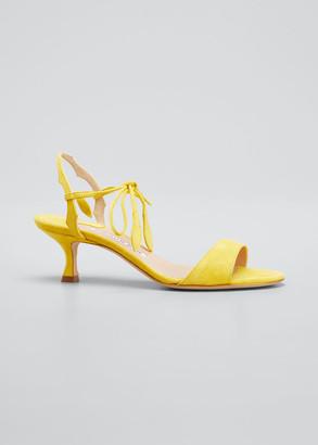 Manolo Blahnik Zouliplain Suede Ankle-Tie Sandals