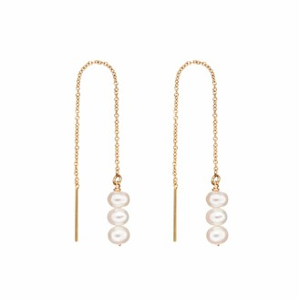 Lily & Roo Gold Cluster Pearl Drop Threader Earrings