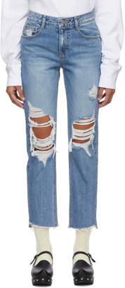 Sjyp Blue Destroyed Jeans