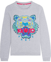 Kenzo Tiger Embroidered Cotton Sweatshirt - Light gray