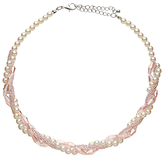 John Lewis Crystal Bead Faux Pearl Layered Necklace, Blush