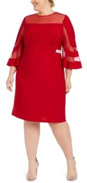 R & M Richards Plus Size Illusion-Neck Dress