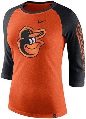 Nike Women's Orange Baltimore Orioles Logo Tri-Blend 3/4-Sleeve Raglan T-Shirt