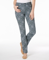 Charter Club Petite Tummy-Control Printed Straight-Leg Jeans, Created for Macy's