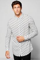 boohoo Chevron Print Long Sleeve Shirt