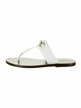 Gucci 1955 Horsebit Accent Leather T-Strap Sandals White
