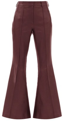 KHAITE Charles Kick-flared Leather Trousers - Burgundy