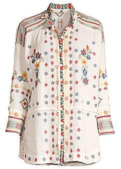 Johnny Was Women's Florence Gauze Floral-Embroidered Blouse