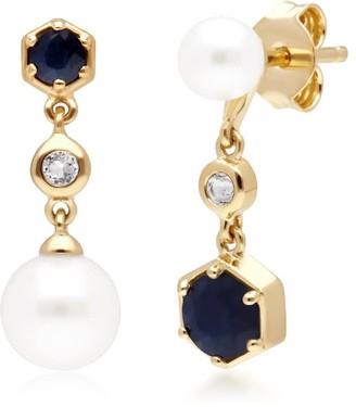 Gemondo Modern Pearl, Sapphire & Topaz Drop Earrings