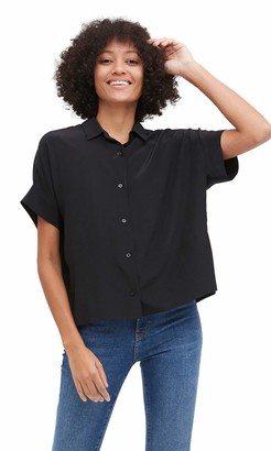 LilySilk Oversize Loose 100% Silk T-Shirt Casual Short Sleeves Blouse for Women (Black XL)