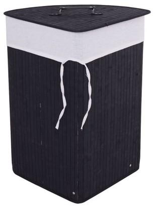 Goplus Corner Bamboo Washing Cloth Hamper Laundry Basket Bin Storage Bag Lid Black